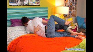 Adorable young gay couple make a porno